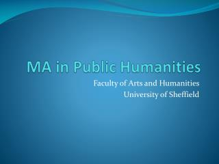 MA in Public Humanities