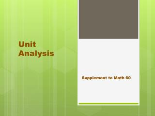 Unit Analysis