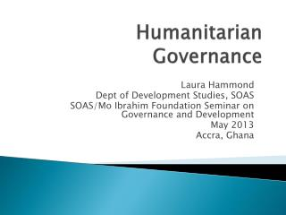 Humanitarian Governance