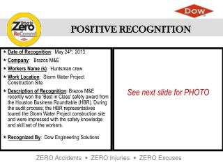 Date of Recognition :  May 24 th , 2013   Company :    Brazos M&E