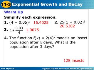 Warm Up Simplify each expression.  1.  (4 + 0.05) 2 3.