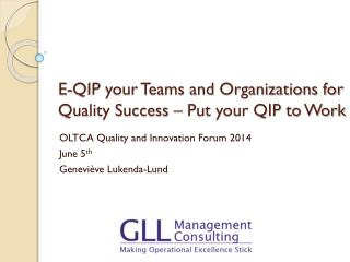 E-QIP your Teams and Organizations for Quality Success – Put your QIP to Work