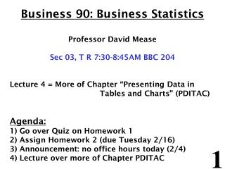 Business 90: Business Statistics Professor David Mease Sec 0 3 ,  T R 7 : 3 0- 8 : 4 5AM BBC  204