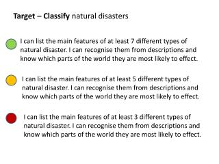 Target – Classify  natural disasters