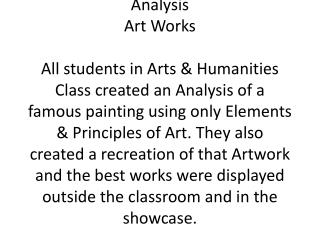 Arts Humanities Elements Analysis 0