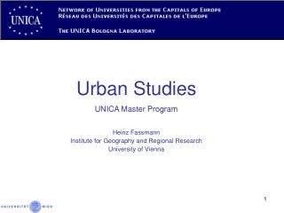 Urban Studies UNICA Master Program Heinz Fassmann Institute for Geography and Regional Research
