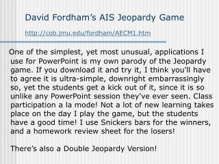 David Fordham s AIS Jeopardy Game cob.jmu