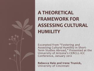 A Theoretical Framework for Assessing Cultural Humility