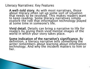 Literacy Narratives: Key Features