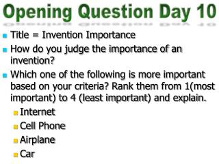 Opening Question Day 10