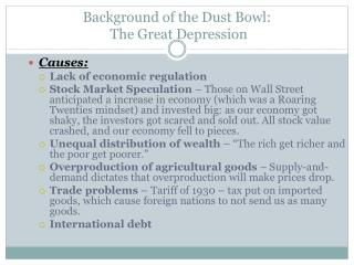 Background of the Dust Bowl:  The Great Depression