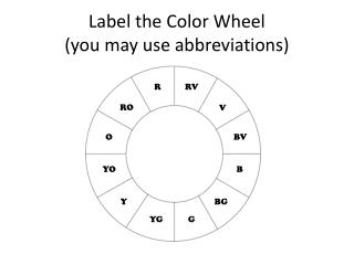 Label the Color Wheel (you may use abbreviations)