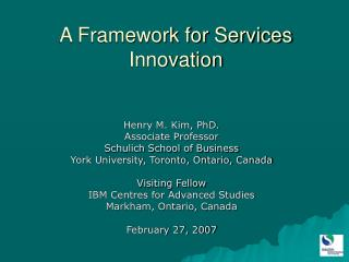 A Framework for Services Innovation