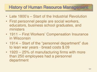 History of Human Resource Management