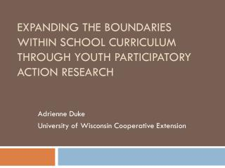 Expanding the Boundaries  within School Curriculum through Youth Participatory Action Research