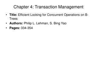 Chapter 4: Transaction Management