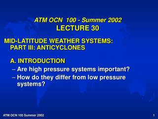 ATM OCN  100 - Summer 2002 LECTURE 30