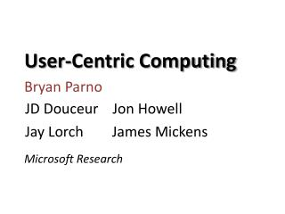 User-Centric Computing