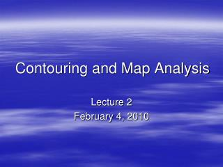 Contouring and Map Analysis