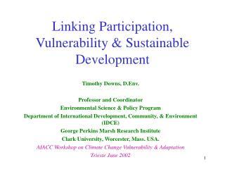 Linking Participation, Vulnerability  Sustainable Development