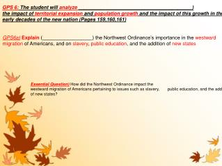 Essential Question) How did the Northwest Ordinance impact the