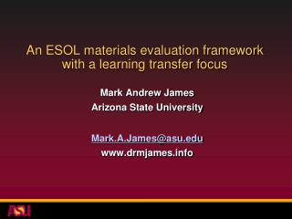 An ESOL materials evaluation framework with a learning transfer focus