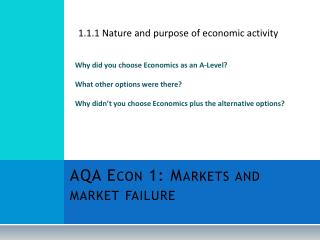 AQA Econ 1: Markets and market failure