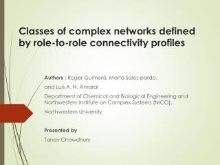 Classes of complex networks defined by role-to-role connectivity profiles