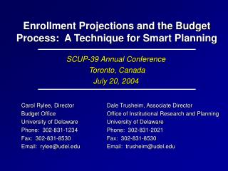 Enrollment Projections and the Budget Process:  A Technique for Smart Planning