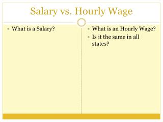 Salary vs. Hourly Wage