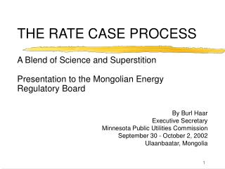 THE RATE CASE PROCESS