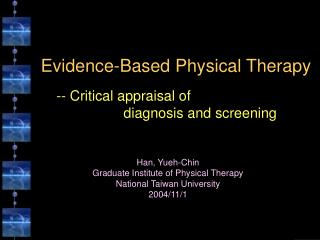 Evidence-Based Physical Therapy