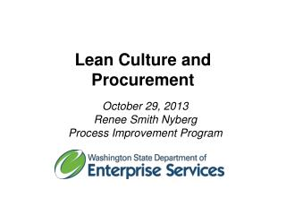 Lean Culture and Procurement
