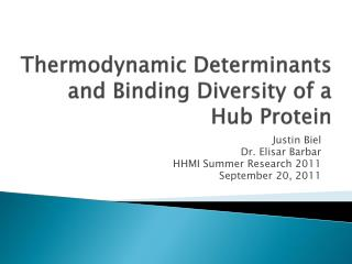 Thermodynamic Determinants and Binding Diversity of a Hub Protein