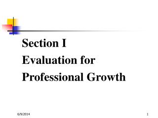 Section I Evaluation for Professional Growth