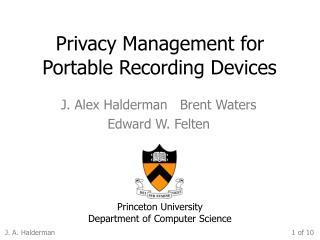 Privacy Management for