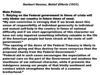 Herbert Hoover,  Relief Efforts  (1931)