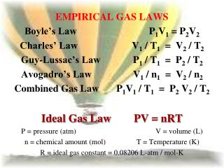 EMPIRICAL GAS LAWS Boyle's Law			     P 1 V 1  = P 2 V 2 Charles' Law			V 1  / T 1   =  V 2  / T 2