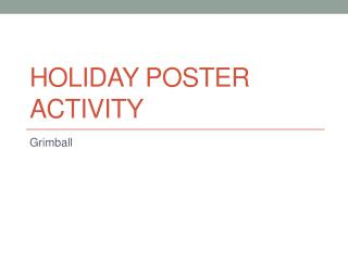 Holiday Poster Activity