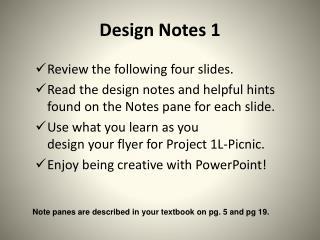 Design Notes 1