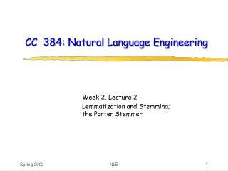 CC  384: Natural Language Engineering