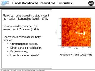 Hinode Coordinated Observations:  Sunquakes