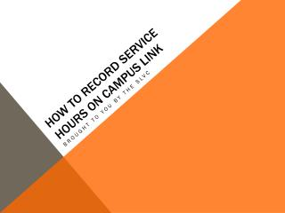 How to record service hours on Campus Link
