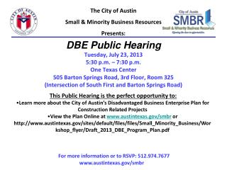 The City of Austin Small & Minority Business Resources  Presents: