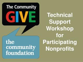 Technical Support Workshop for Participating Nonprofits