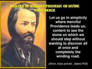 PRAYER  OF BLESSED FREDERIC ON DIVINE PROVIDENCE