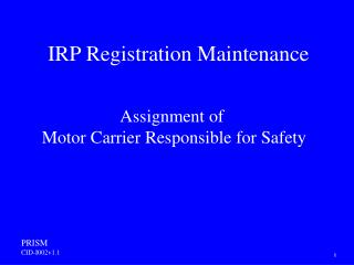 IRP Registration Maintenance