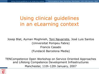 Using clinical guidelines  in an eLearning context