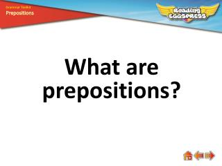 What are prepositions?