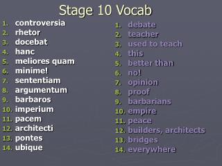 Stage 10 Vocab
